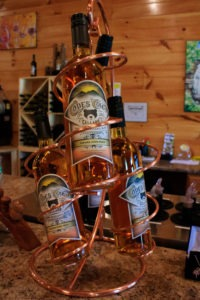 Wine bottles on display at Cades Cover winery on the Gatlinburg Wine Trail Tour.