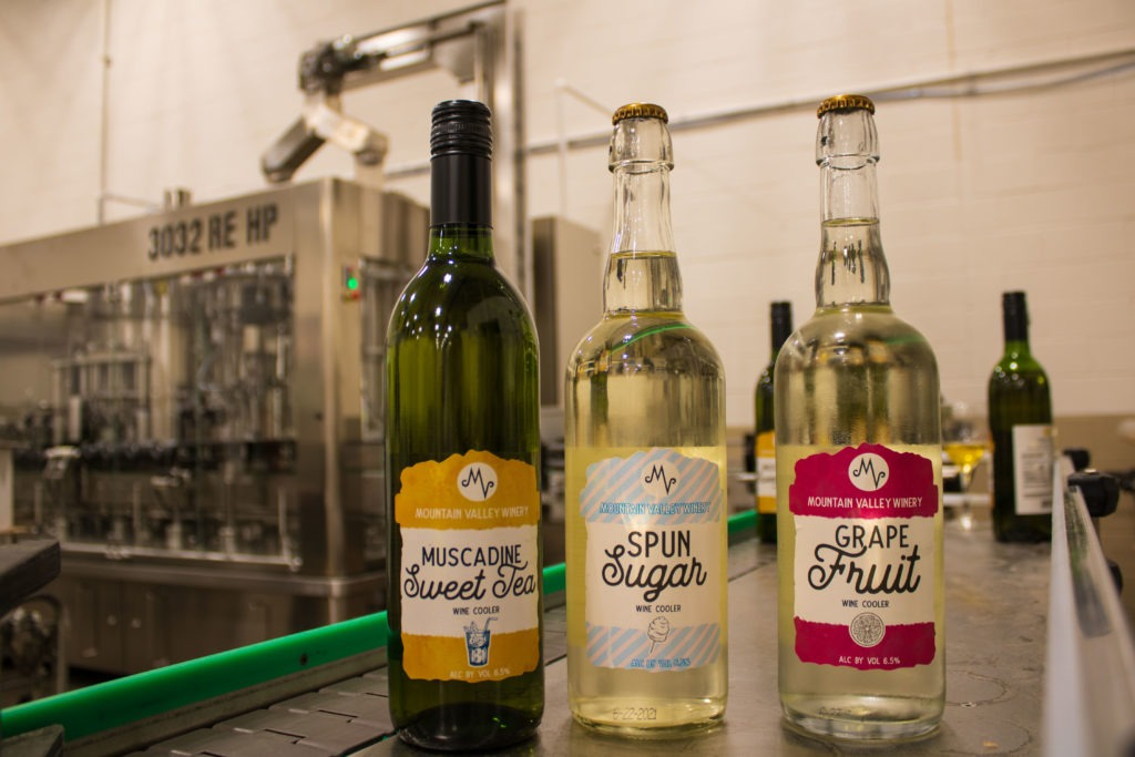 Mountain Valley's newest wine coolers, three flavors of Sweet Tea, Spun Sugar, and Grapefruit.